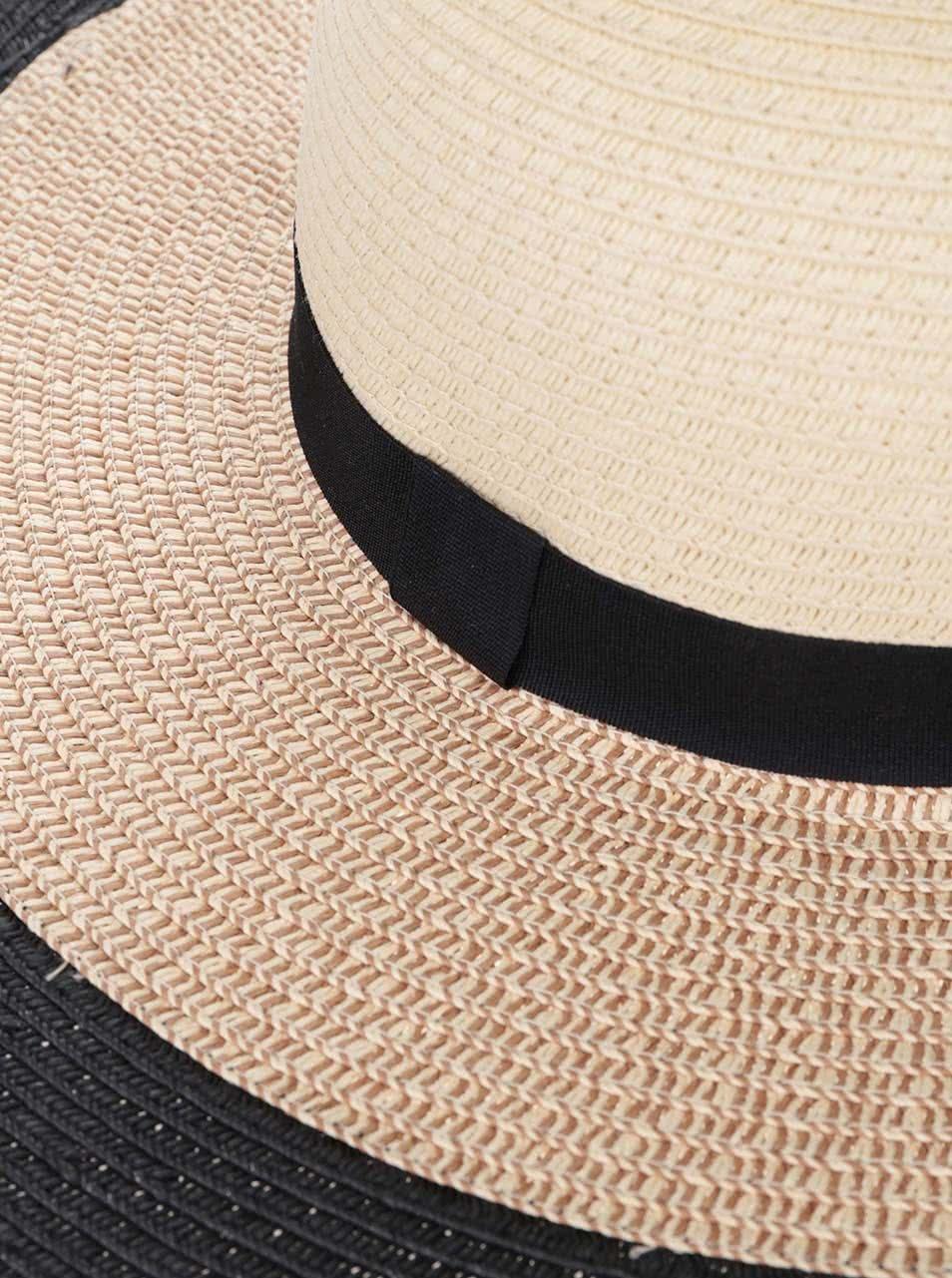 fd4af9d2c27 Slaměný klobouk s černým lemem VERO MODA Kattie ...