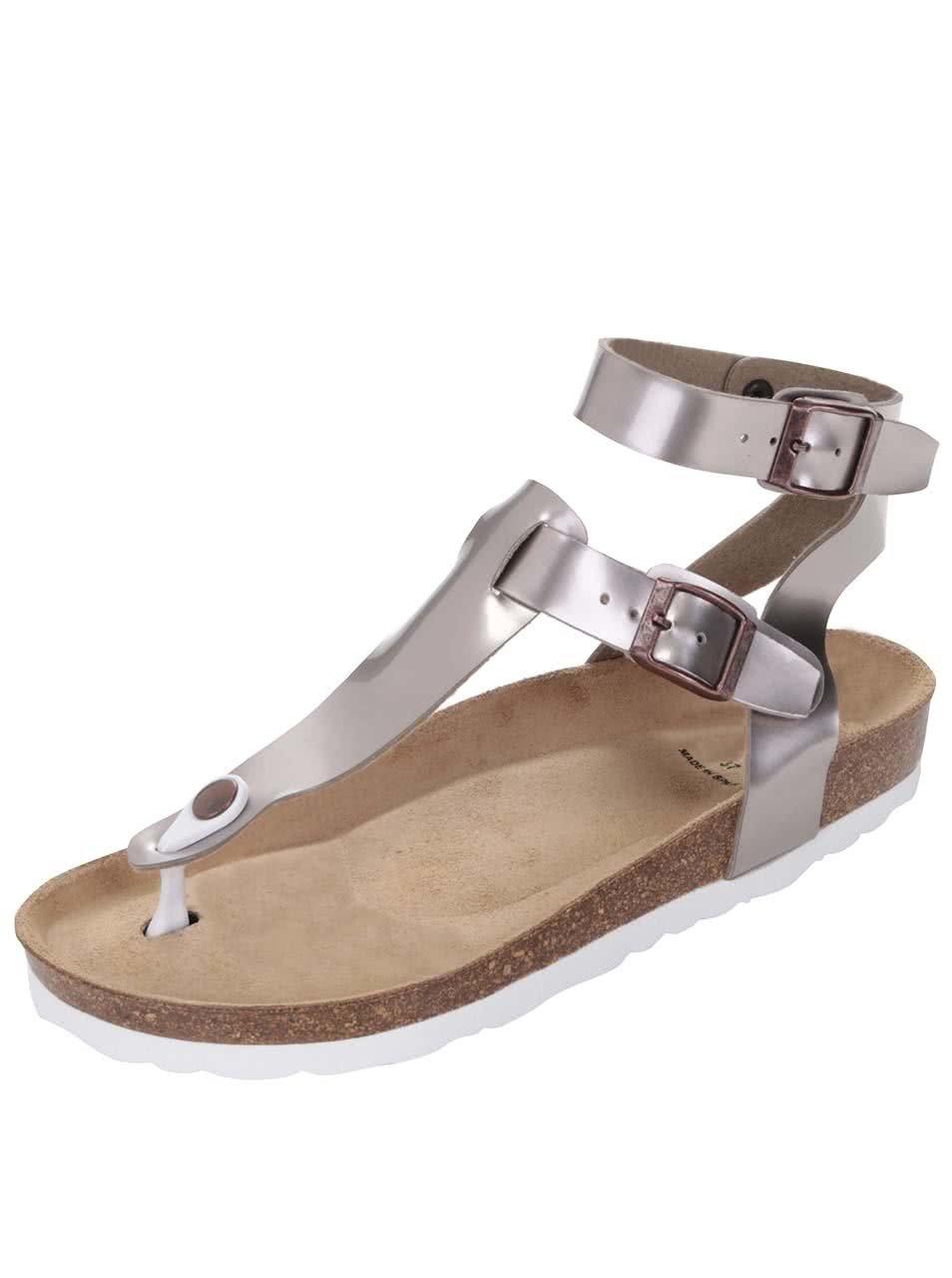 a7a328b96b72 Fialovosivé lesklé dámske sandále OJJU ...