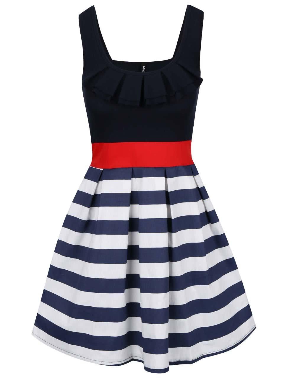 Bílo-modré šaty s červenou stuhou Madonna ... 6b1e8d459b