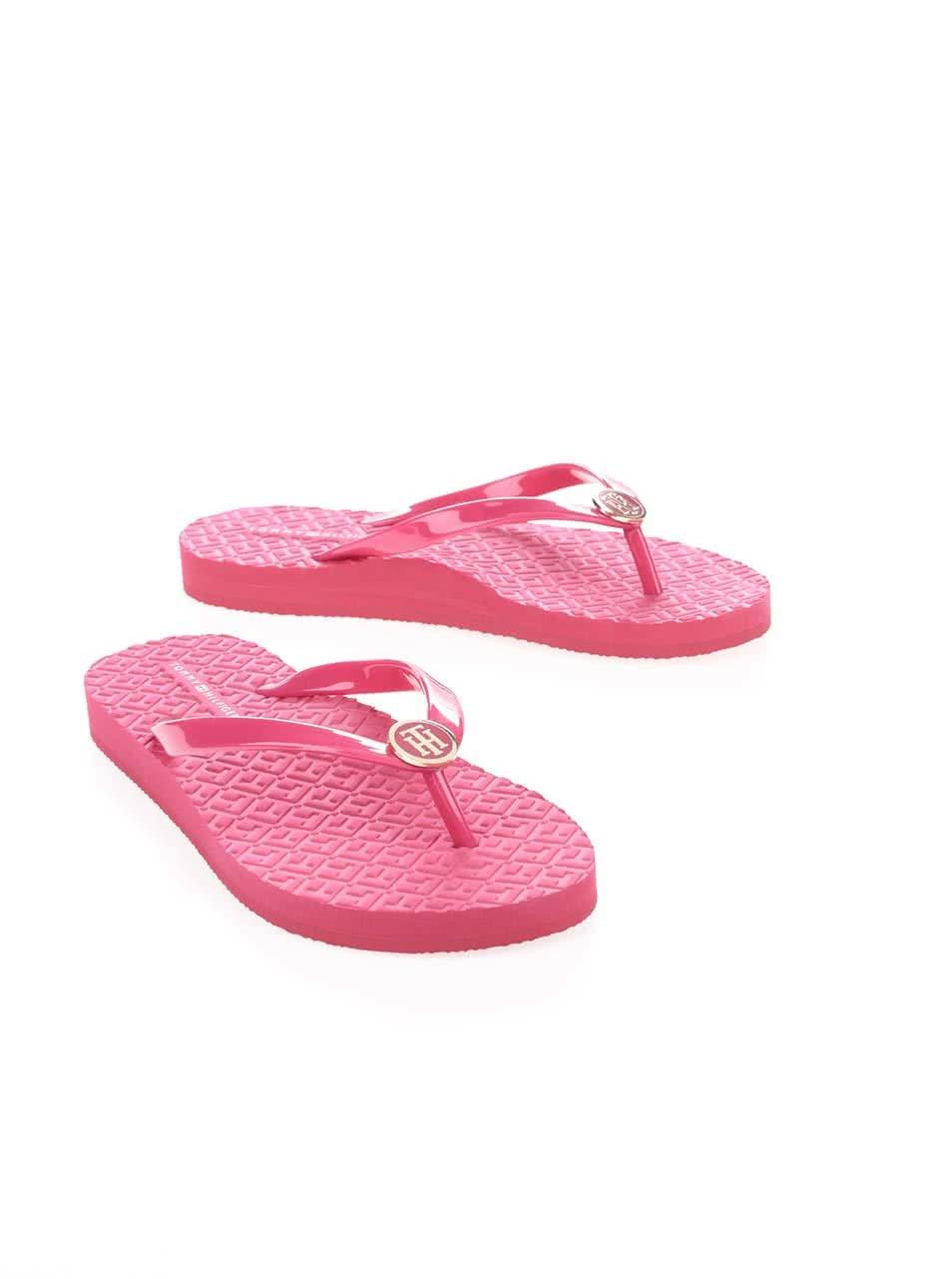 Růžové lesklé dámské žabky Tommy Hilfiger ... d1316746a4