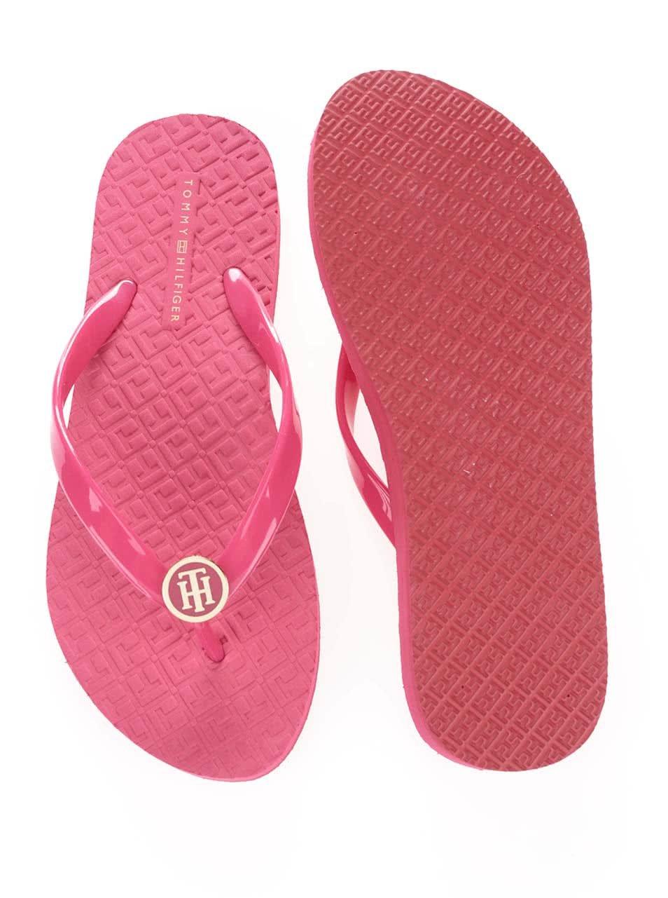 3d39e85c61b Růžové lesklé dámské žabky Tommy Hilfiger ...
