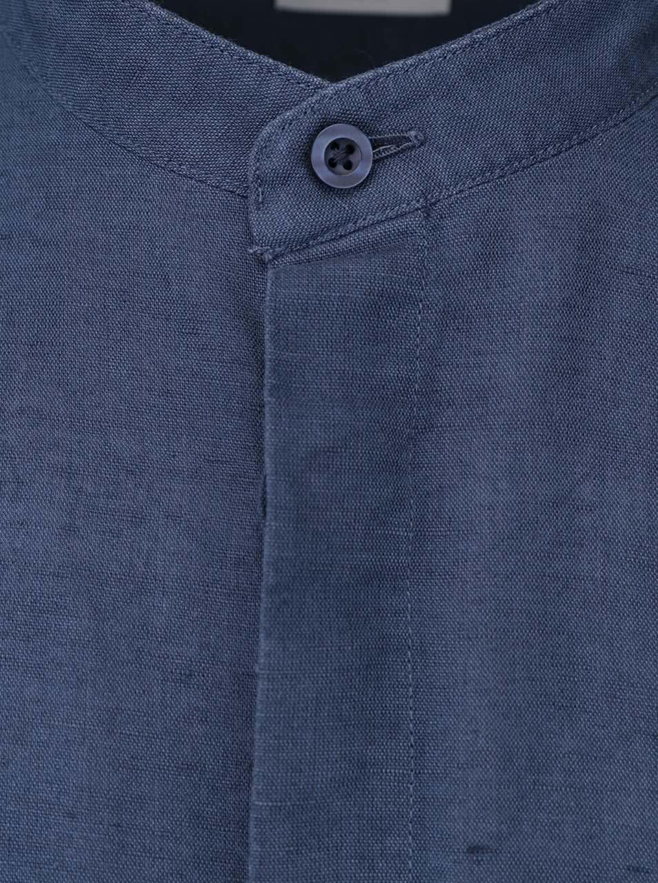 Modrá košile bez límečku Selected Donecal ... 08d9ea2380