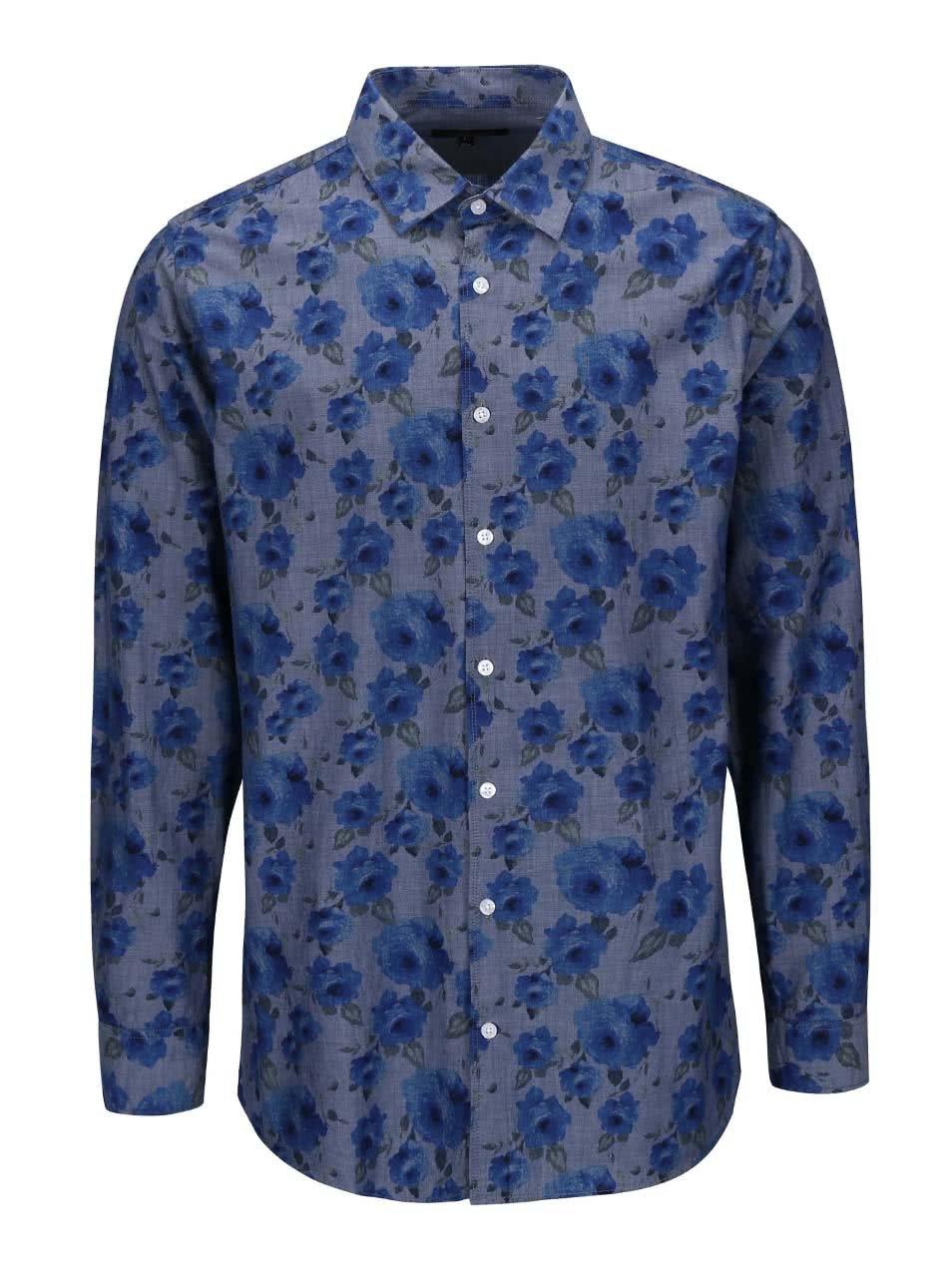 Modrá košile s květinovým vzorem a dlouhým rukávem Lindbergh Dress Fit ... f549519fb9