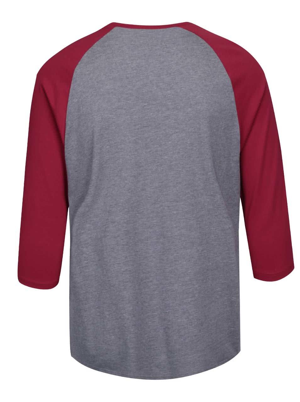 Červeno-sivé melírované pánske tričko s 3 4 rukávmi a potlačou Vans Raglan  ... 20cf7ca584f