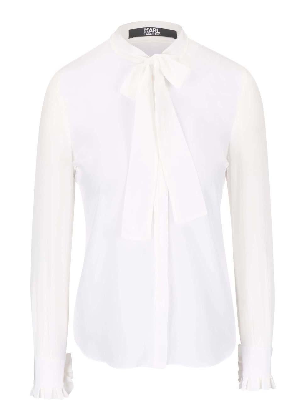 ecd74e8c75a Krémová hedvábná košile s vázankou KARL LAGERFELD ...