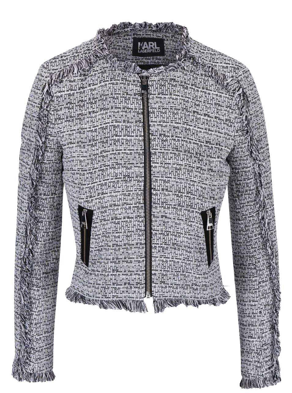 Černo-bílé krátké sako na zip KARL LAGERFELD