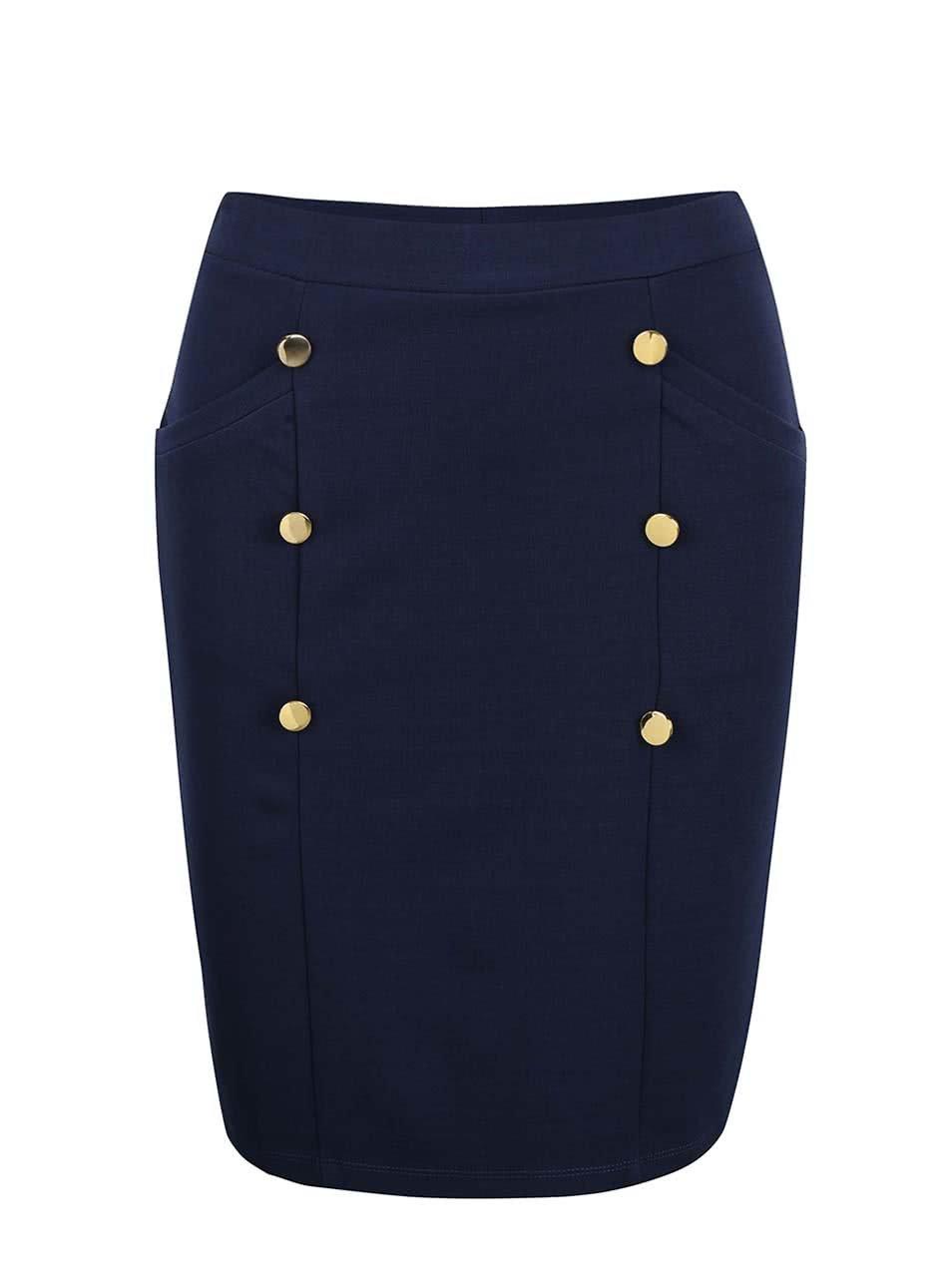 Modrá sukně s knoflíky ve zlaté barvě VERO MODA Sofia ... 3411e3b94a