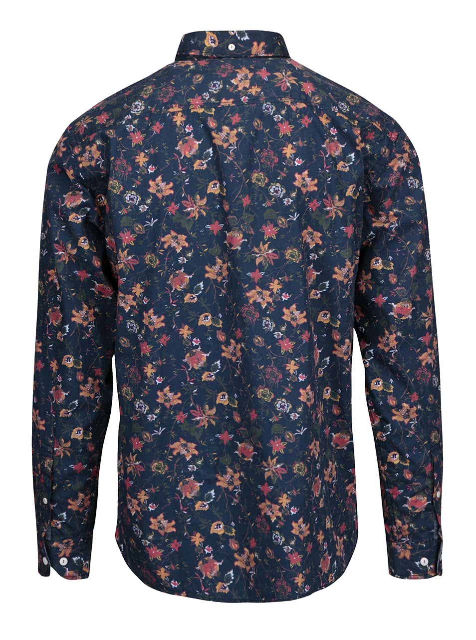 Modrá pánská košile s květinovým vzorem Lindbergh ... cc0ed073b6