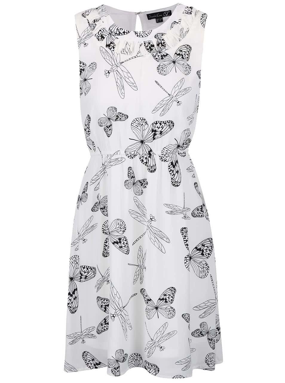 41e85cb71f8c Krémové šaty s čiernou potlačou motýľov Smashed Lemon ...