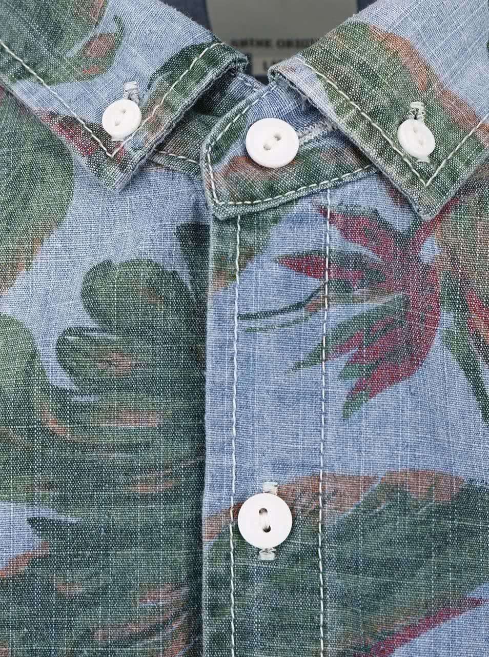 Modrá košile s potiskem listů Shine Original ... c84dbaf102