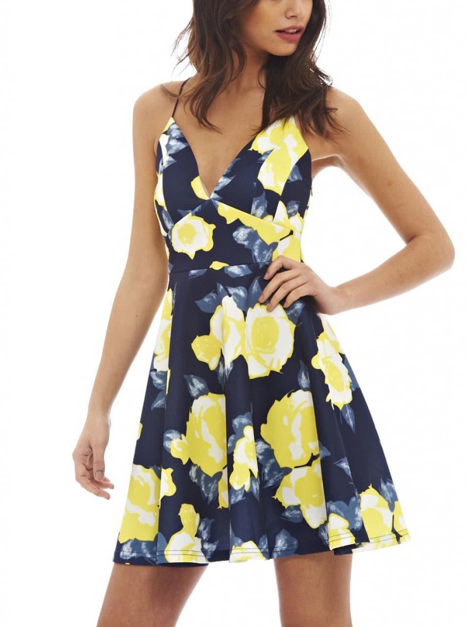 1892559046a5 Tmavomodré kratšie šaty so žltými kvetmi AX Paris ...