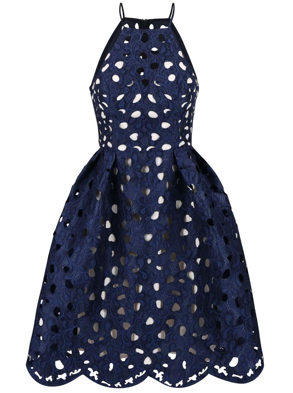 cb739dba1f8 Tmavě modré šaty s vypalovanou krajkou Chi Chi London Nessa ...