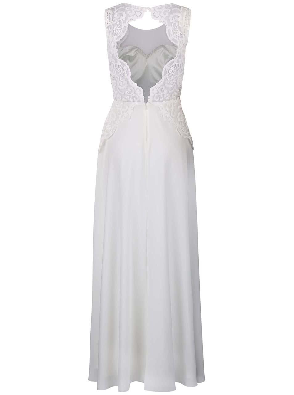 Bílé dlouhé šaty s krajkovým topem Chi Chi London Dee ... f30a2405c7