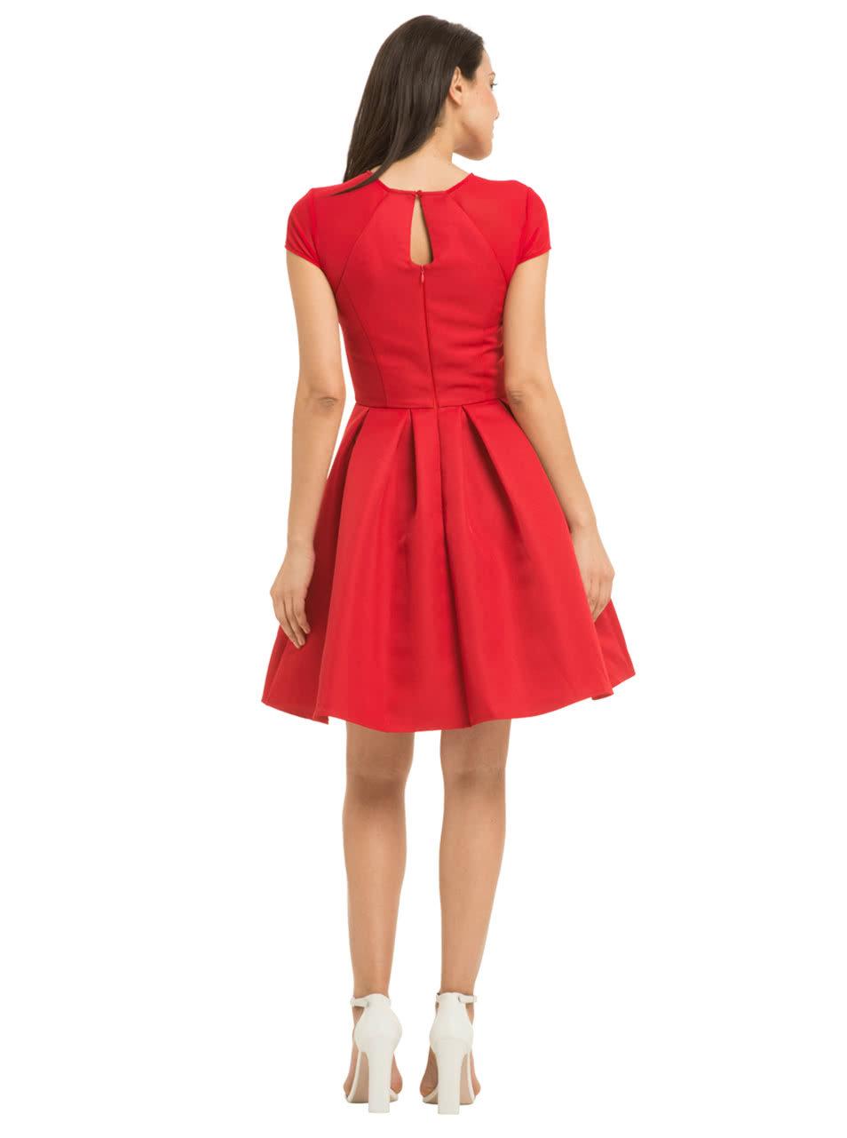 Červené šaty so skladanou sukňou Chi Chi London Marley ... 20a225e3124