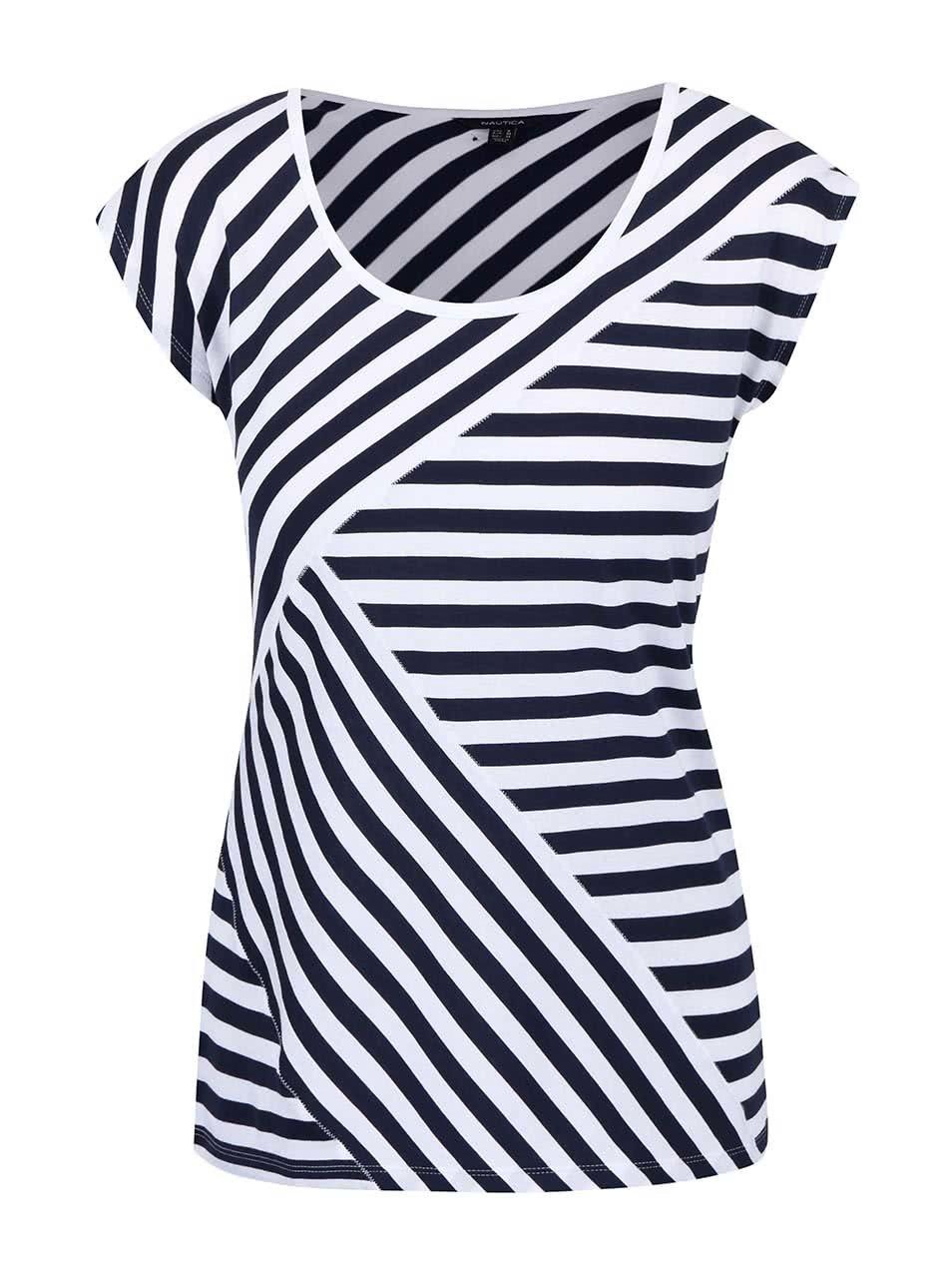 7504bc15eb4a Modro-biele dámske pruhované tričko Nautica ...