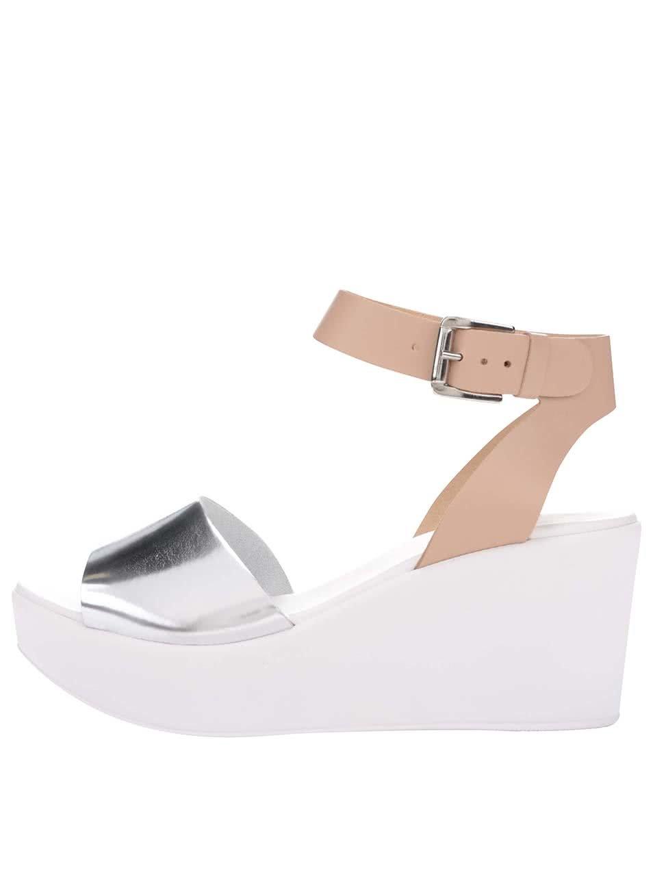 59f59057de Béžovo-biele kožené sandálky na platforme Miss Selfridge ...
