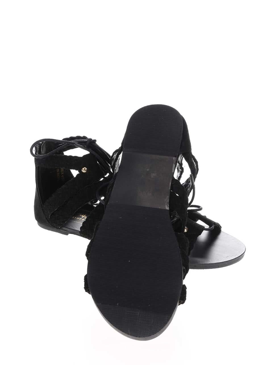 50784b166cb0 Čierne semišové šnurovacie sandále Miss Selfridge ...