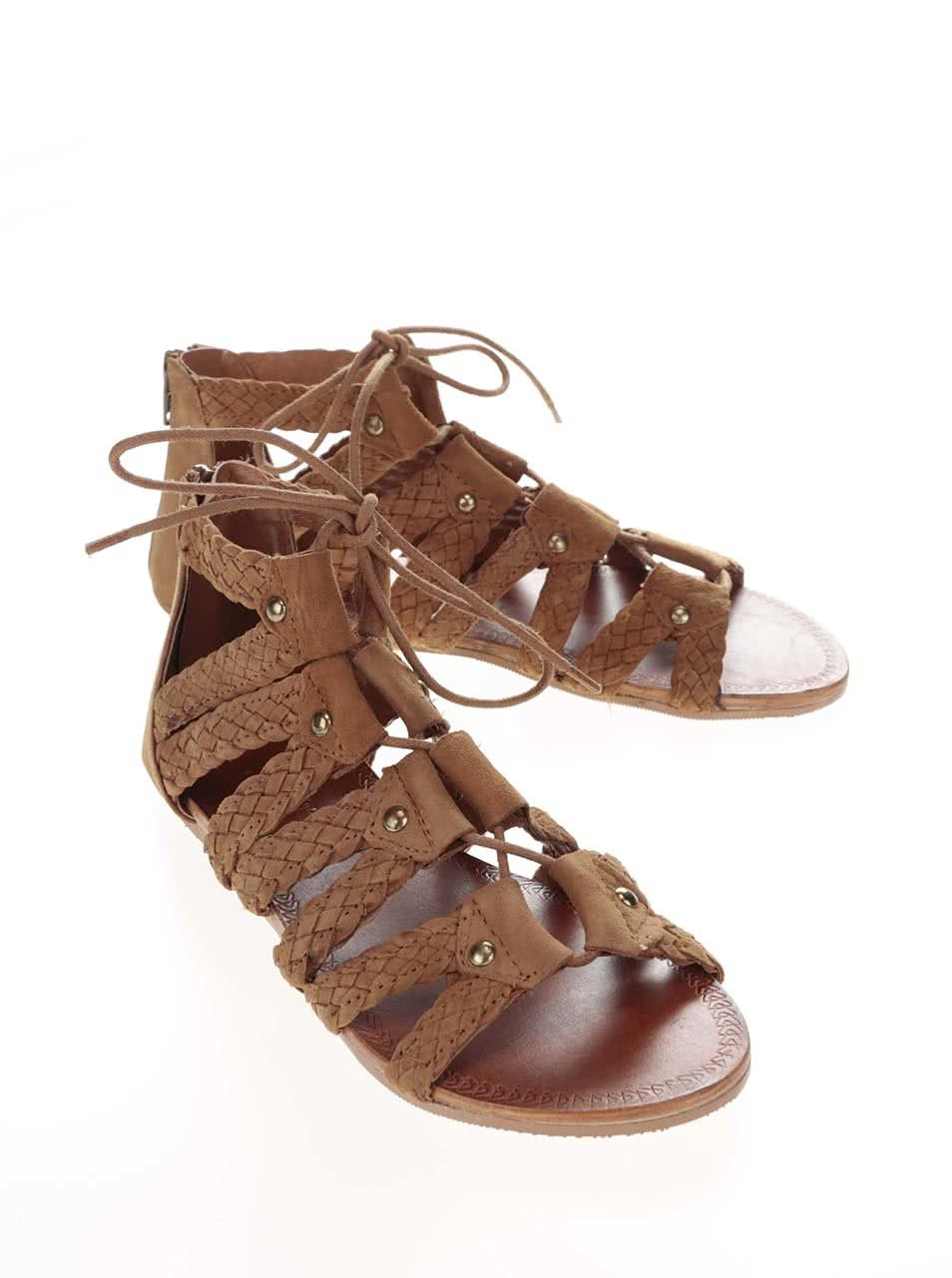 6d3e8561084d Hnedé semišové šnurovacie sandále Miss Selfridge ...