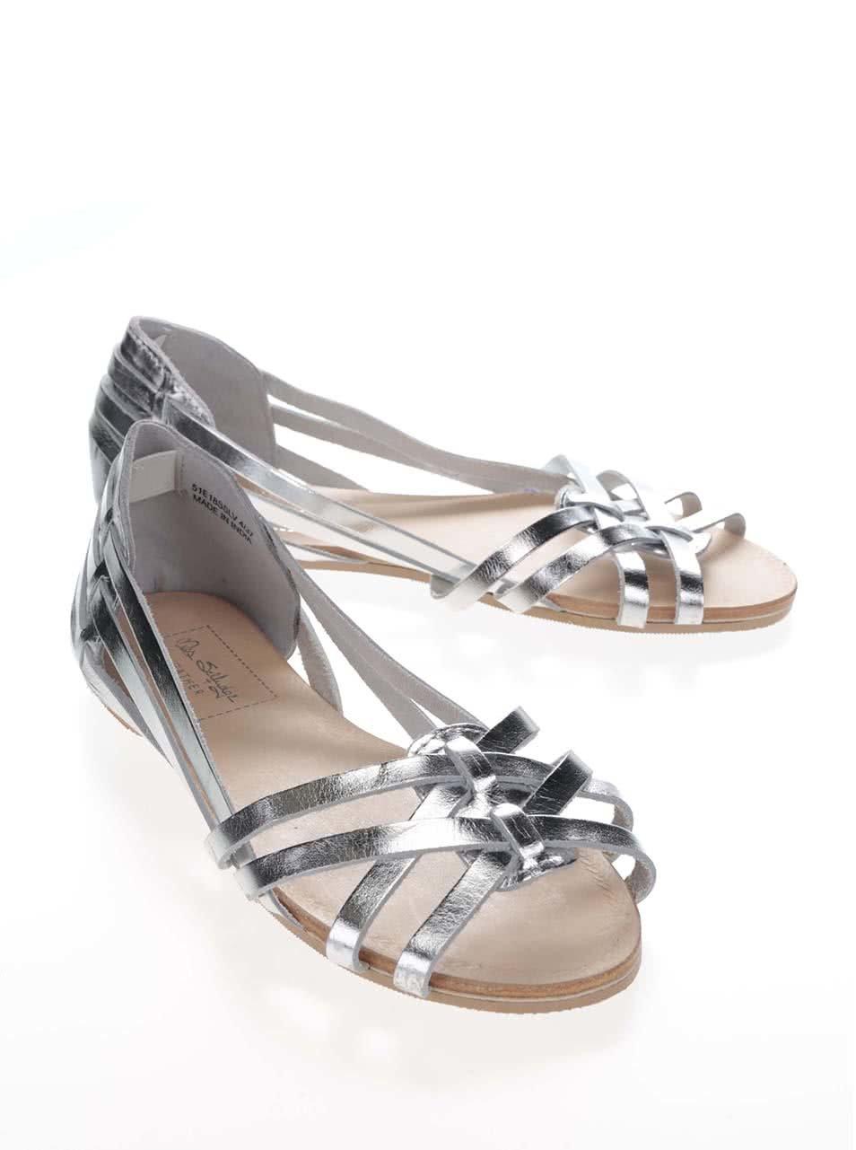 4dd539d37be6f Kožené sandále v striebornej farbe Miss Selfridge | ZOOT.sk