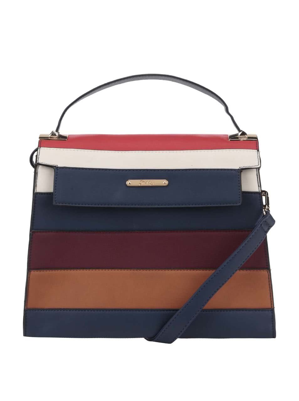 Tmavomodrá crossbody kabelka s farebnými pruhmi Gessy ... f9464cf001d