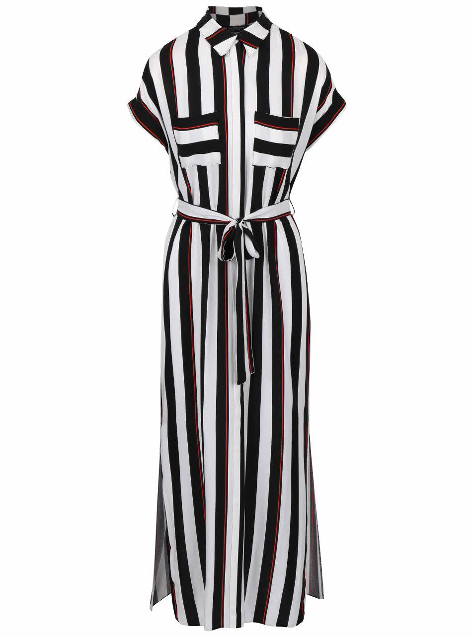 Krémovo-čierne pruhované maxi šaty s golierom Dorothy Perkins ... 19eda1bbef9