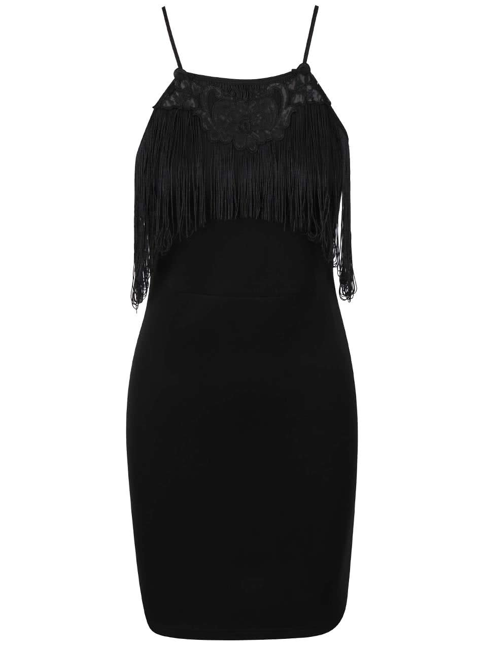Čierne šaty so strapcami LYDC ... 2d332c7b8f5