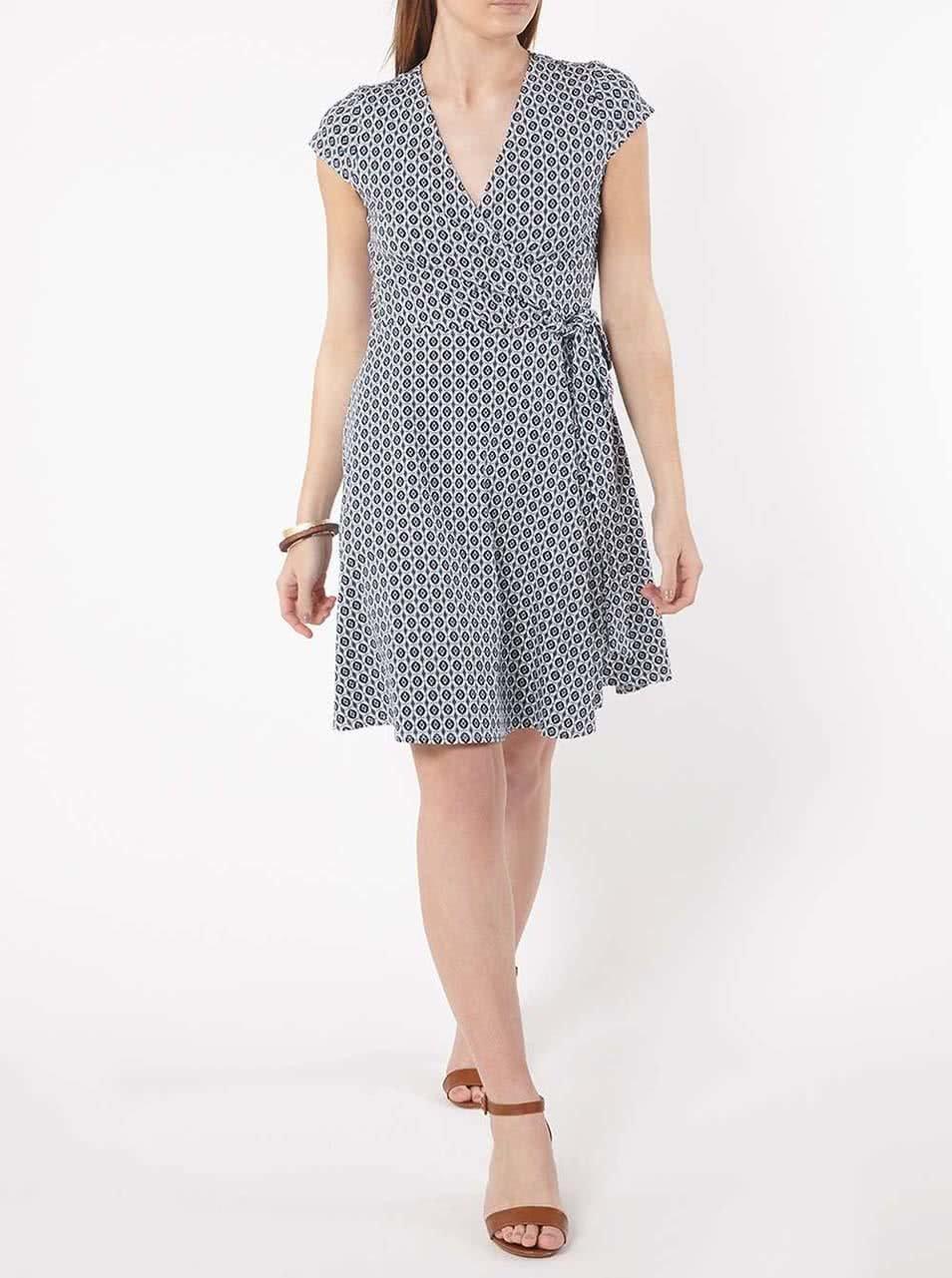 Krémovo-modré vzorované zavinovacie šaty Dorothy Perkins ... bfd9b4dce37