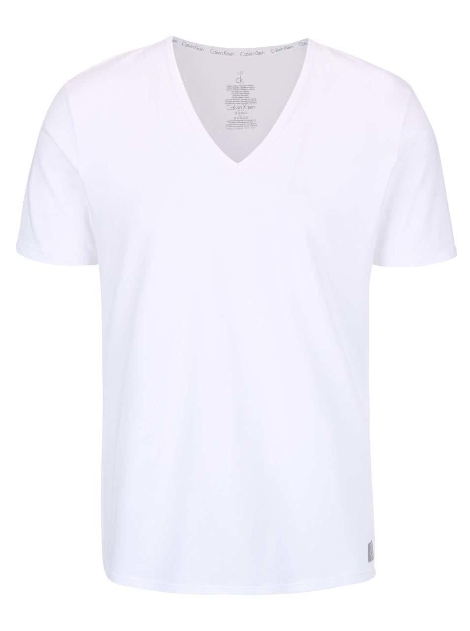 402635c0e9 Súprava dvoch pánskych bielych tričiek s véčkovým výstrihom Calvin Klein  Underwear ...