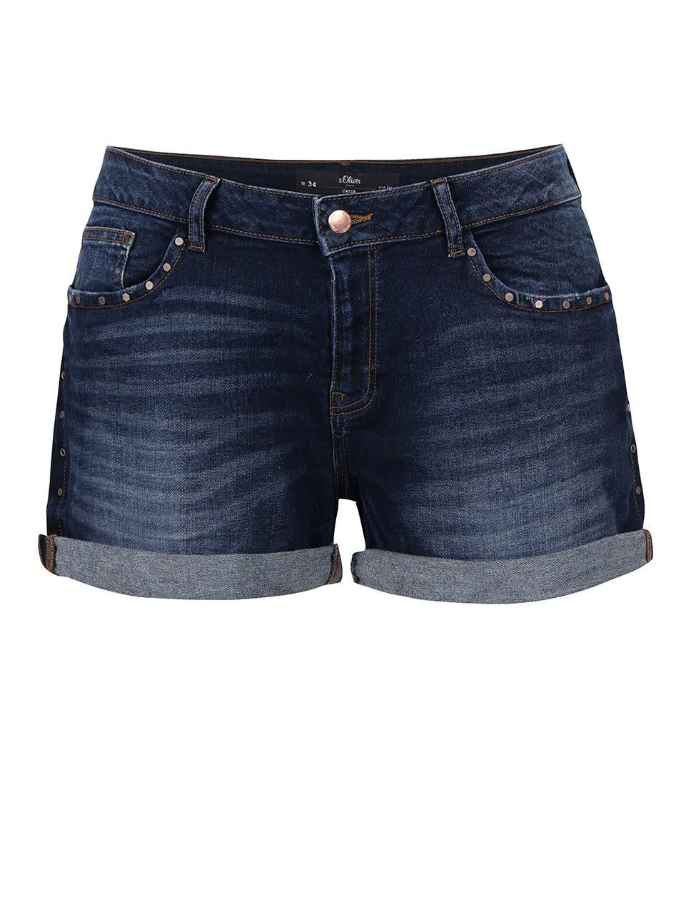 Tmavě modré dámské džínové kraťasy s cvoky s.Oliver  340da53407
