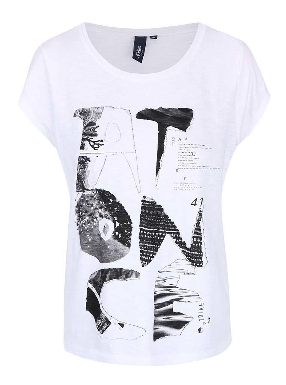 4a7c02584f2e Biele dámske tričko s potlačou s.Oliver