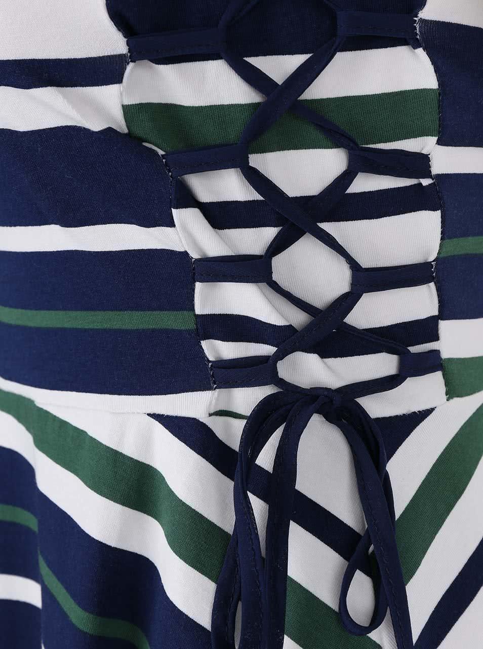 ca71babb7eac Bielo-modré pruhované šaty so šnurovaním na boku Dorothy Perkins ...