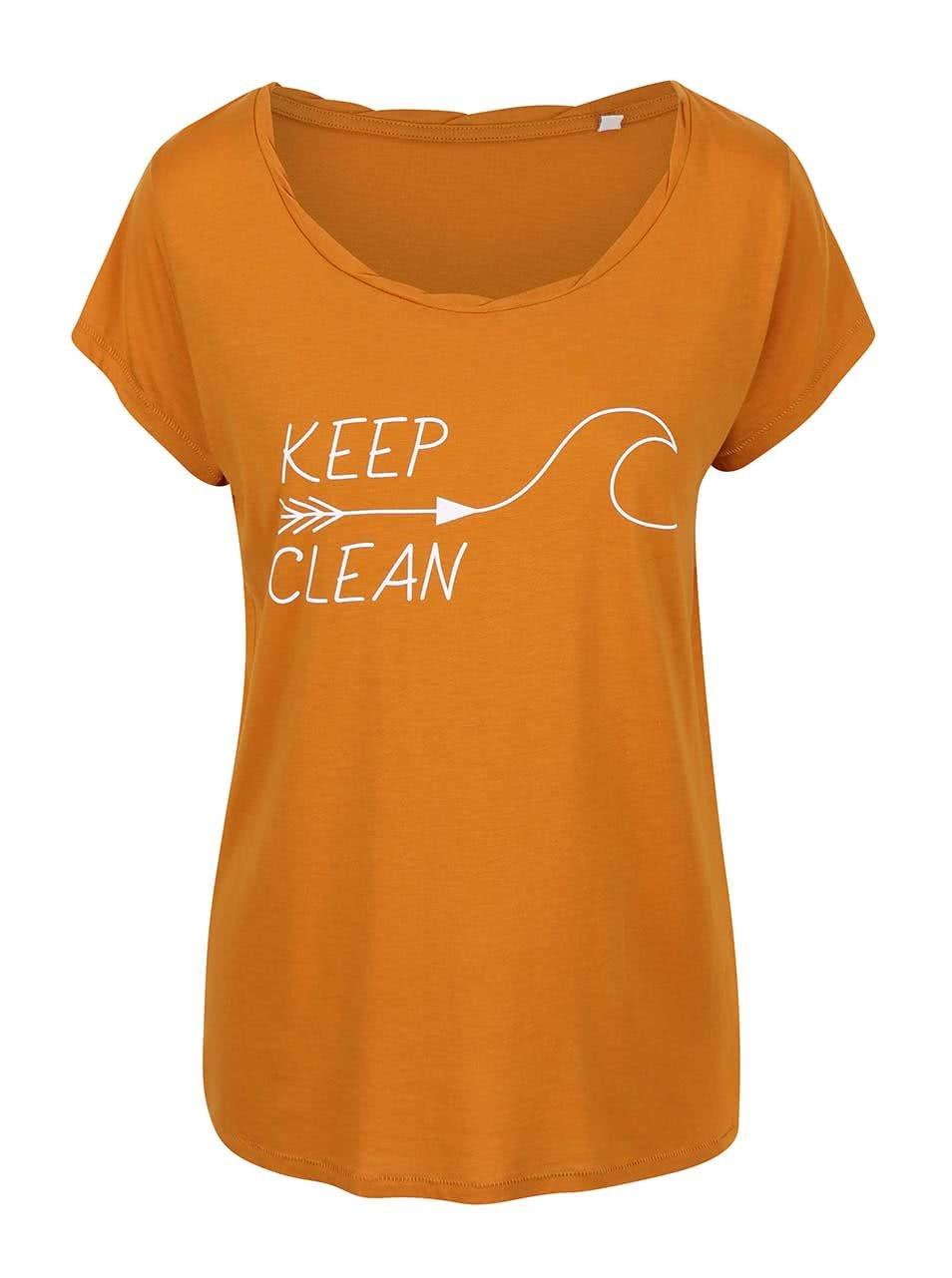 """Dobré"" hořčicové dámské tričko KEEPItCLEAN"