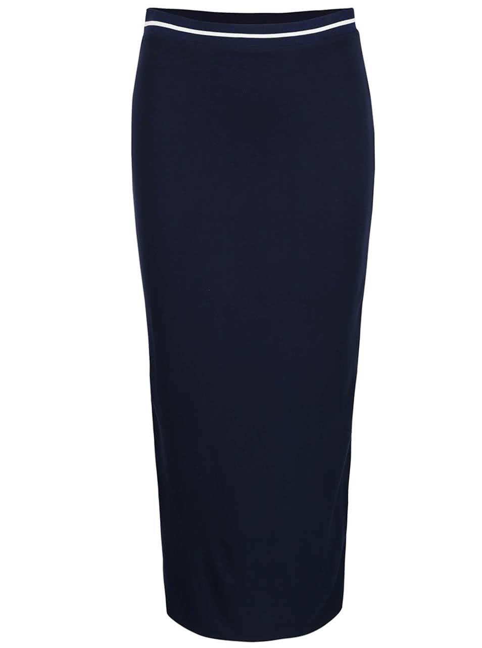 Tmavě modrá dlouhá sukně s bílým lemem Dorothy Perkins ... bcd8cc3b1a