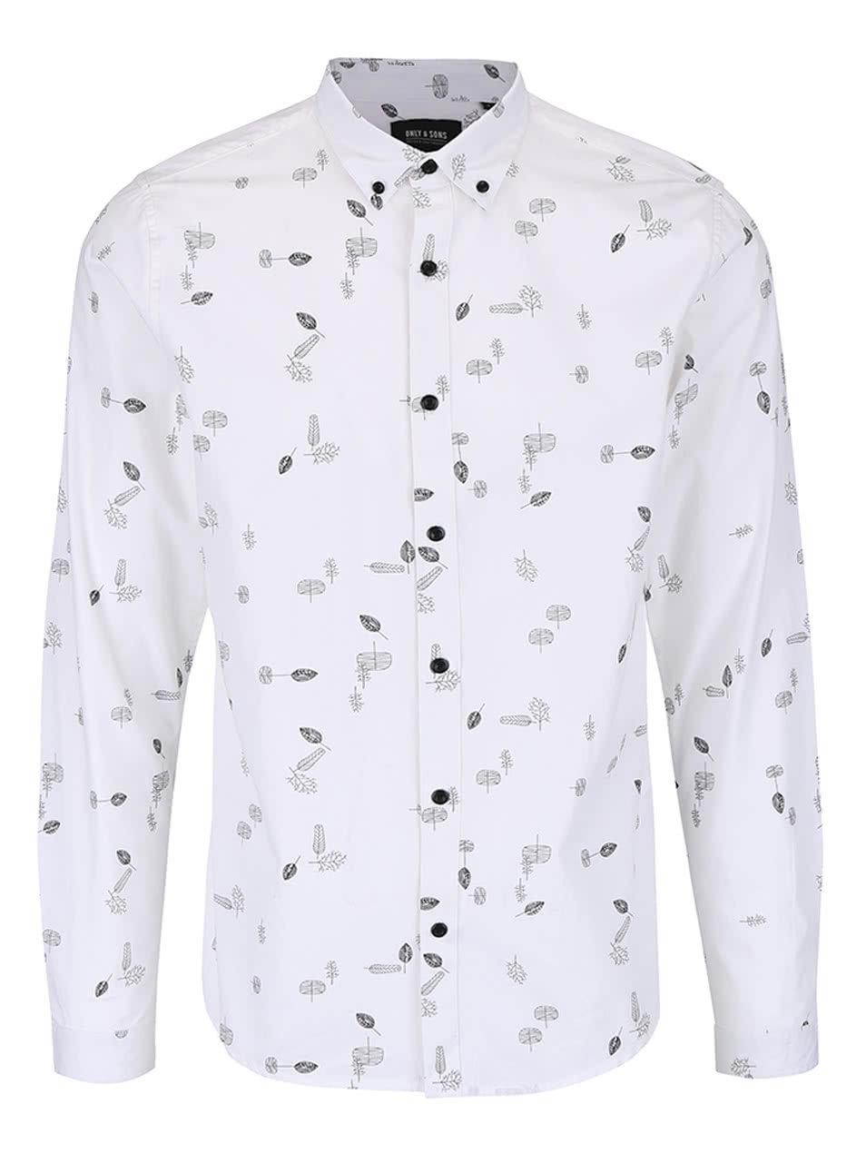 d577cca2c1f7 Bílá vzorovaná slim fit košile ONLY   SONS Bob ...