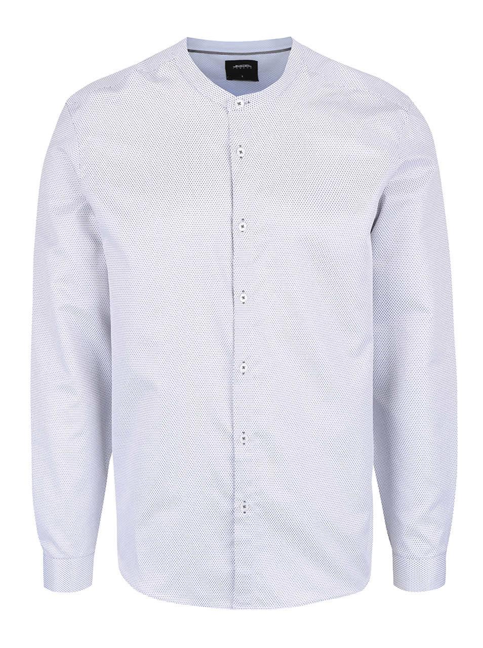 729a9da7667 Bílá vzorovaná košile bez límečku Burton Menswear London ...