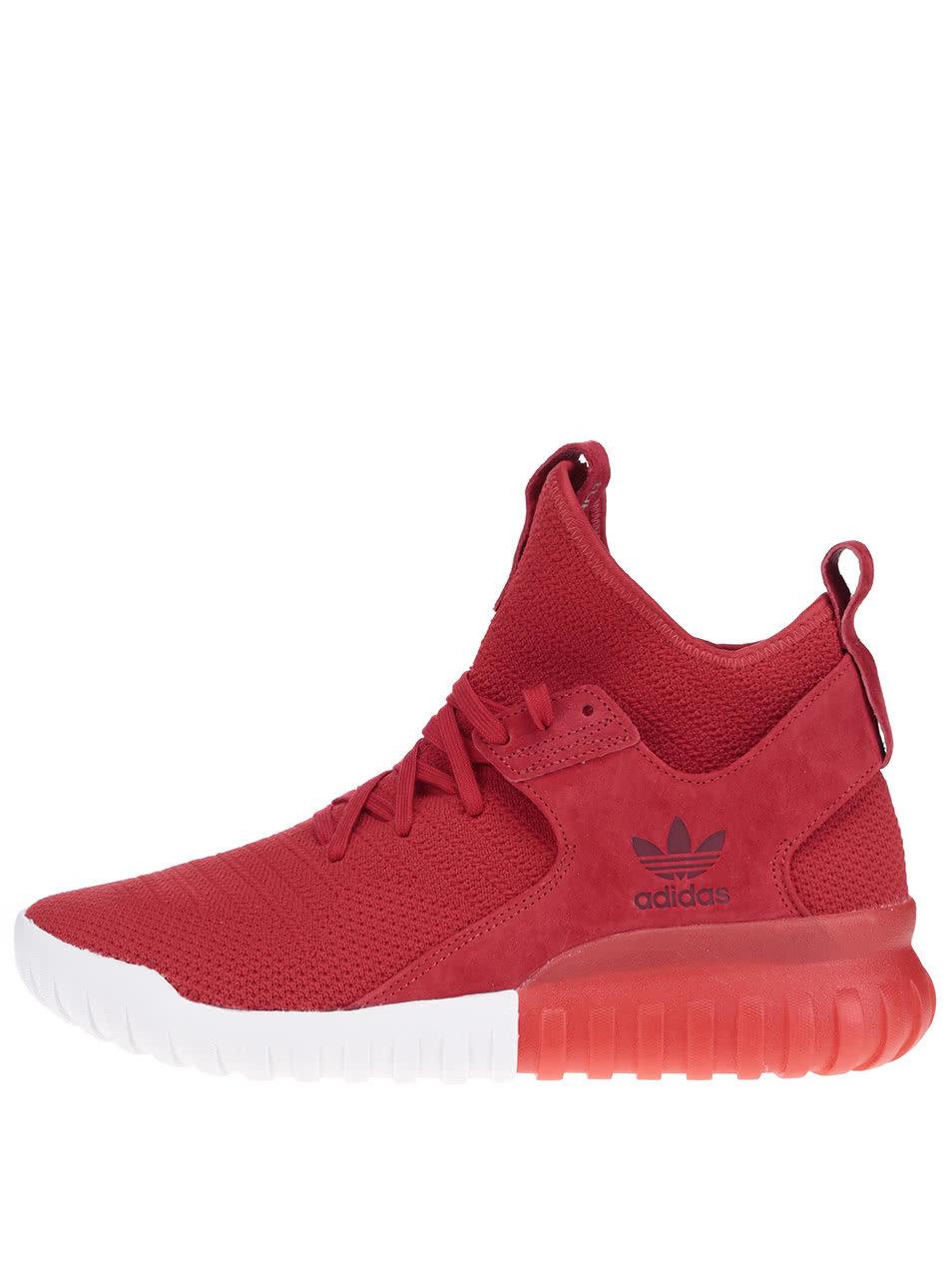 e8a7a76811d Červené pánske členkové topánky so semišovým detailom adidas Originals  Tubular X PK ...