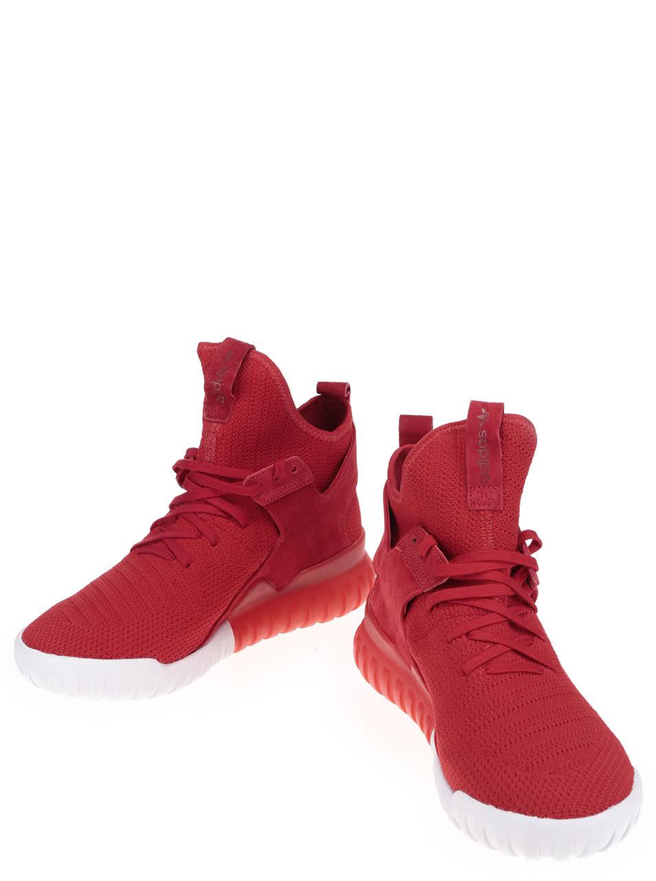 7db7884e53e Červené pánské kotníkové boty se semišovým detailem adidas Originals  Tubular X PK ...