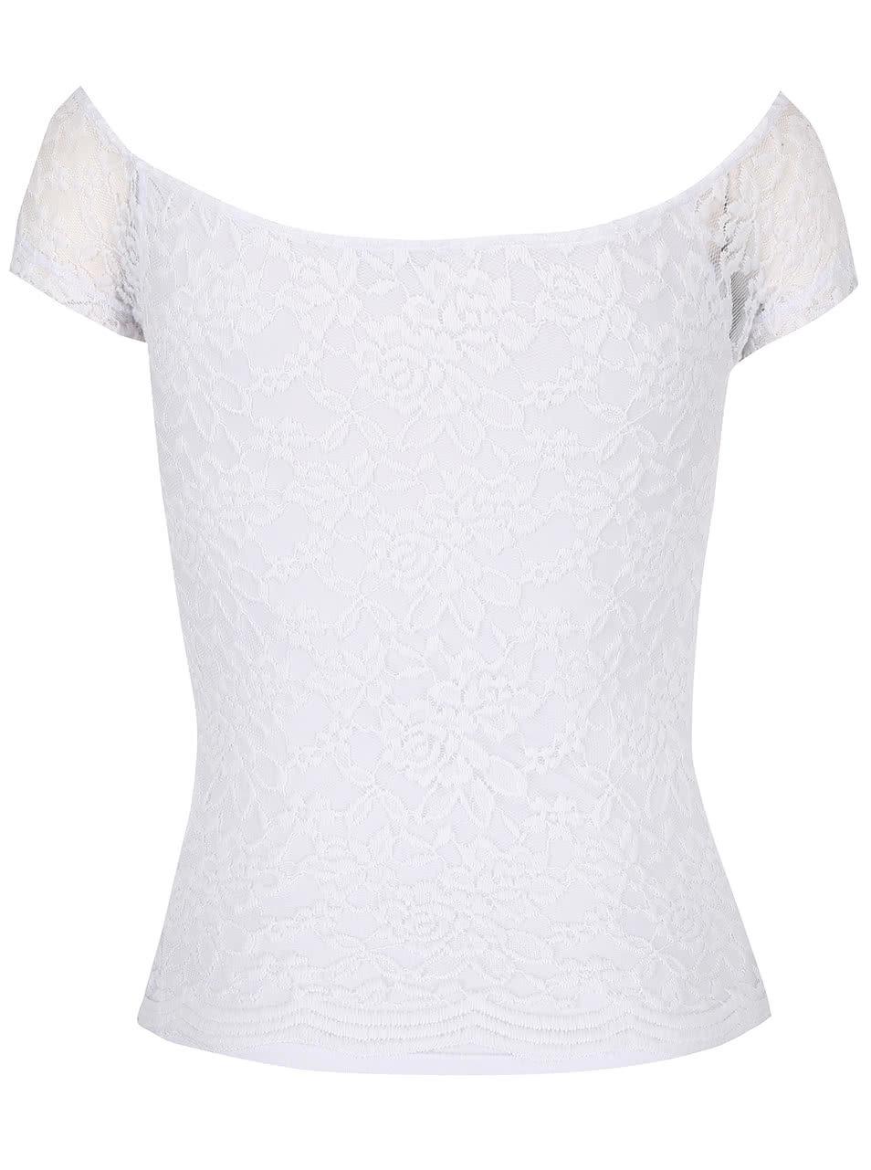 8e33b72b8844 Biele čipkované tričko s lodičkovým výstrihom TALLY WEiJL Pippa ...