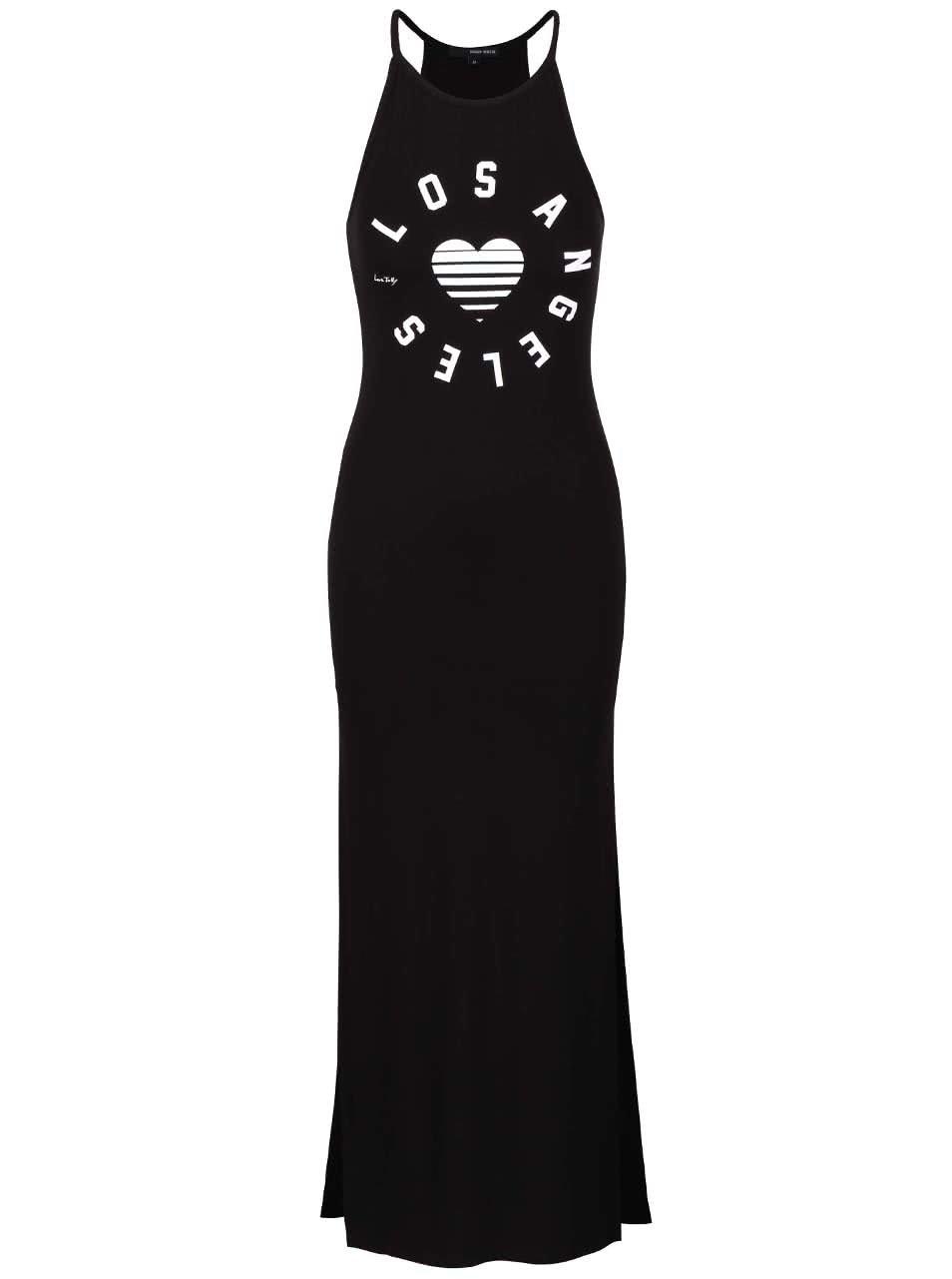 Čierne maxi šaty s potlačou TALLY WEiJL ... d20b8356571