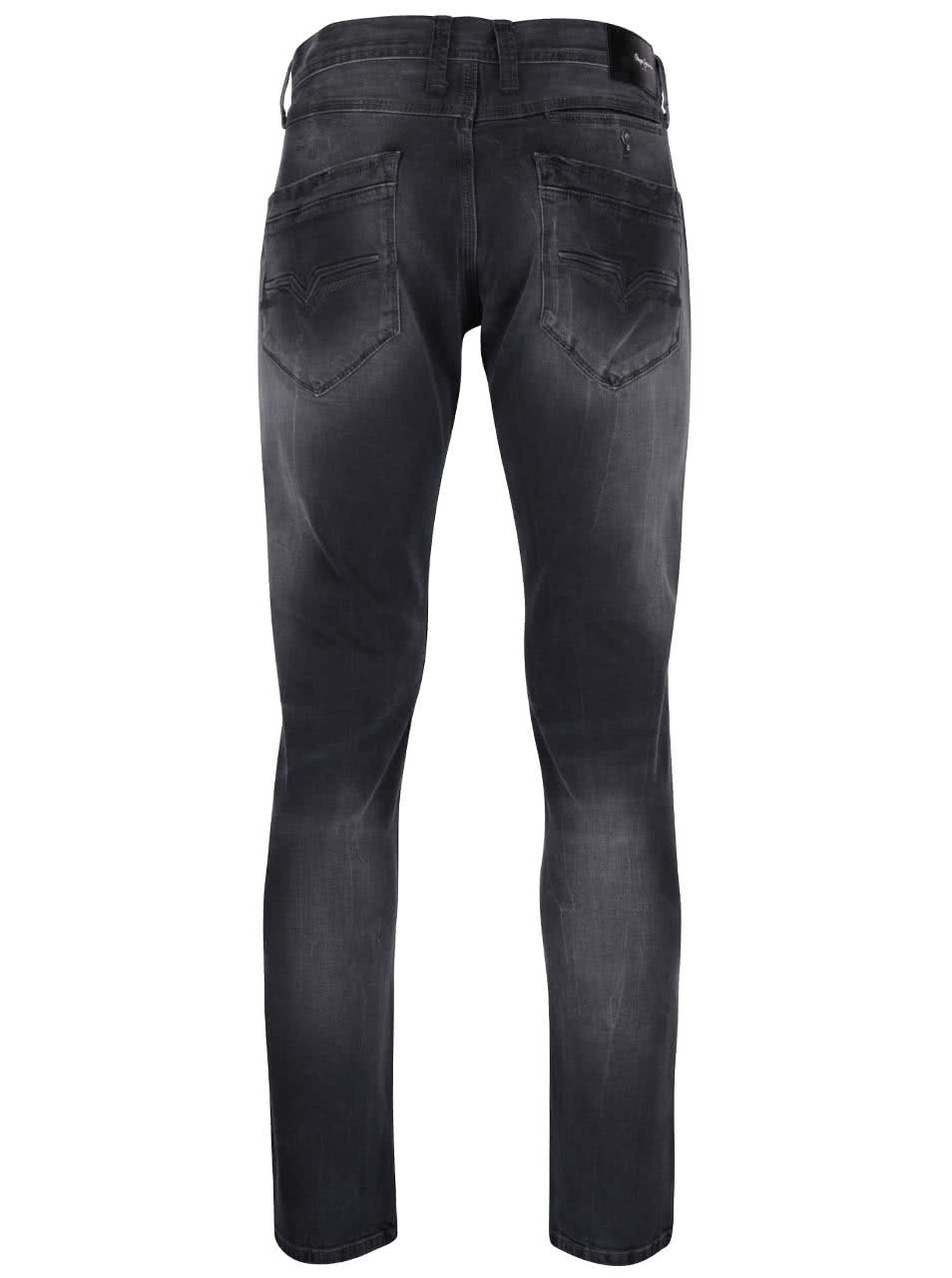 Tmavě šedé pánské slim džíny Pepe Jeans Spike ... 5b474403e9