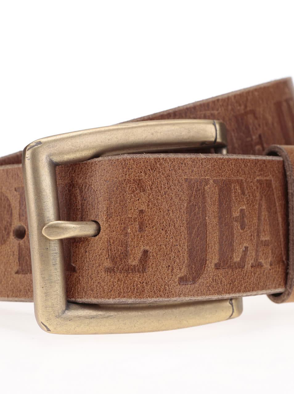 Hnědý pánský kožený pásek se vzorem Pepe Jeans Sauco ... 2db003d02a