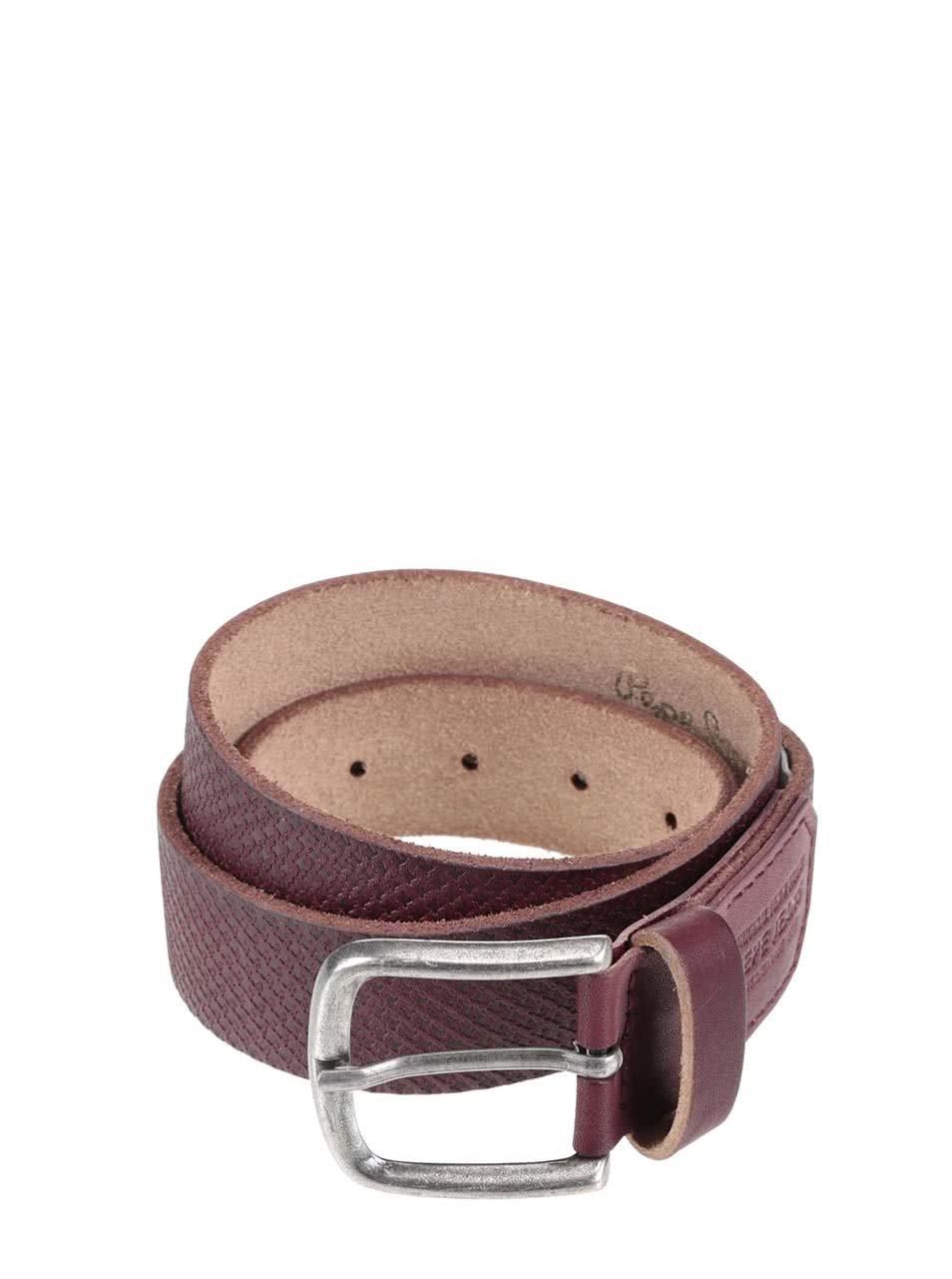 Hnědý pánský kožený pásek se vzorem Pepe Jeans Massy ... 916a6ef1e6