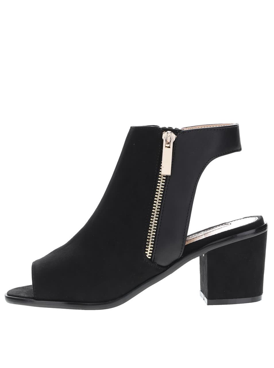 Čierne topánky s otvorenou špičkou a pätou v semišovej úprave Miss Selfridge  ... abfa6346b57