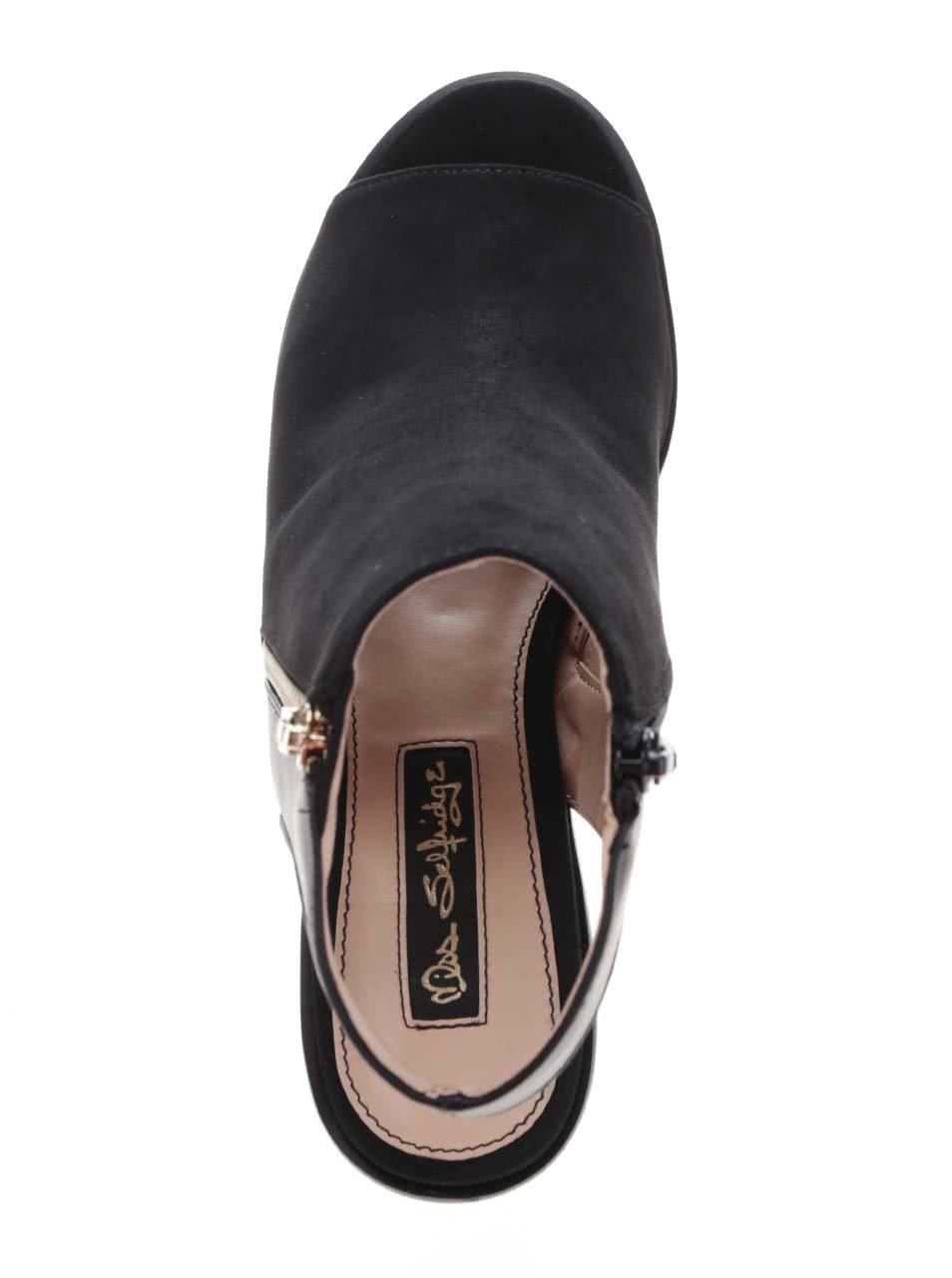 c3f8edb949 Čierne topánky s otvorenou špičkou a pätou v semišovej úprave Miss  Selfridge ...