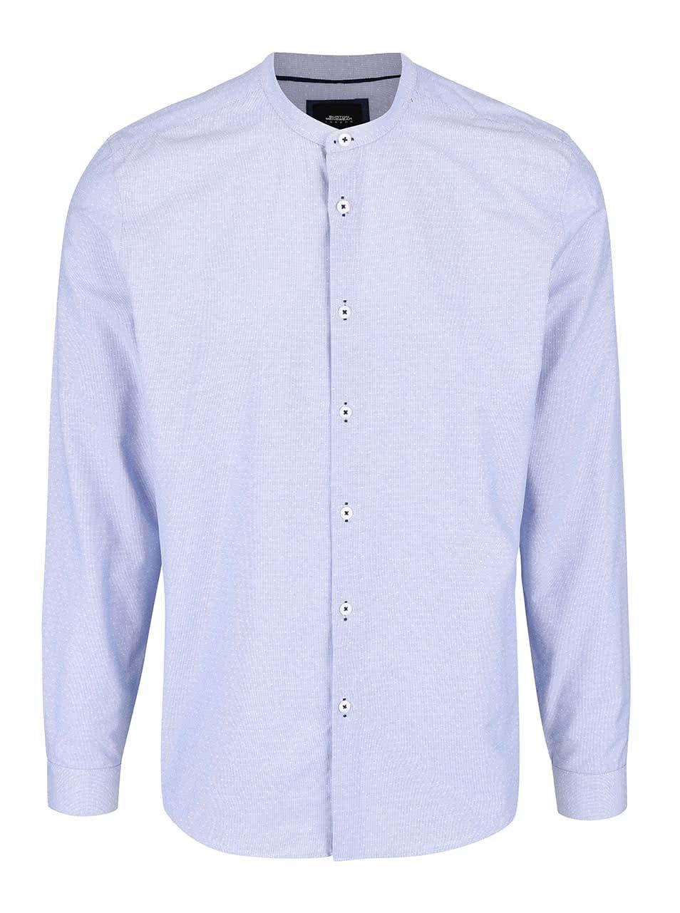 6ac52e5b61a Světle modrá vzorovaná košile bez límečku Burton Menswear London ...