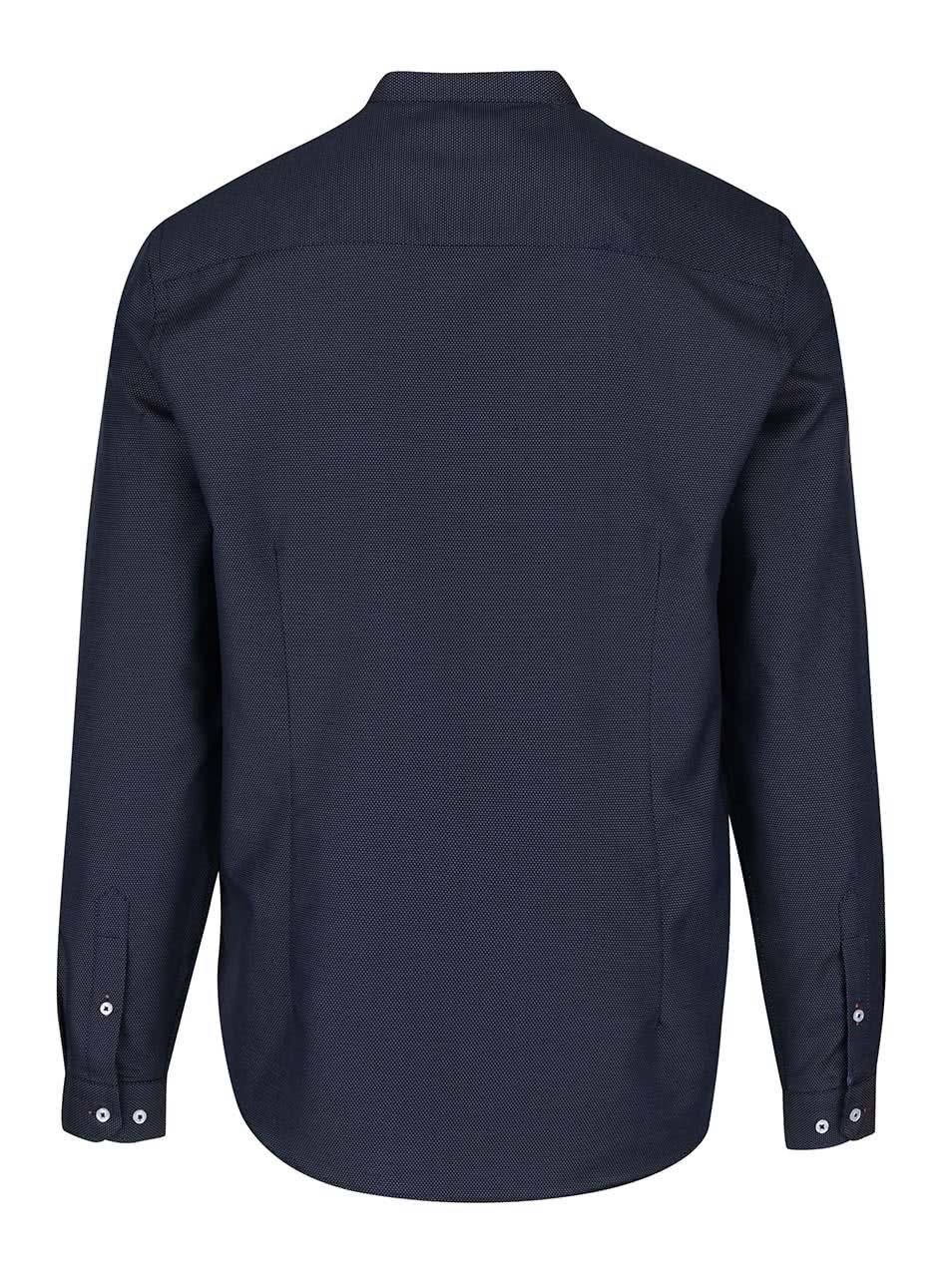 49cff5102ac Tmavě modrá vzorovaná košile bez límečku Burton Menswear London ...