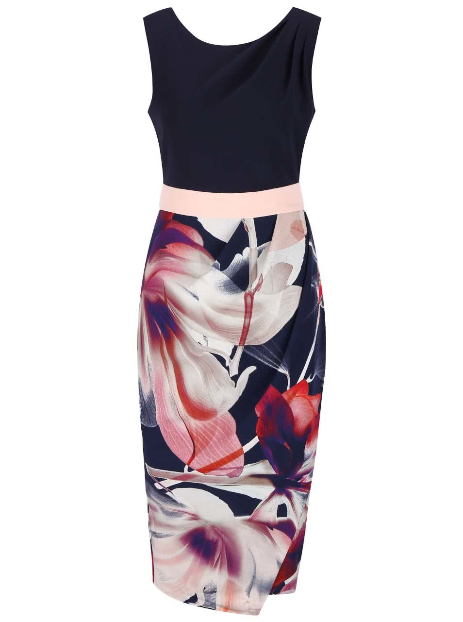b6f154c82870 Tmavomodré puzdrové šaty s kvetovanou sukňou Closet ...