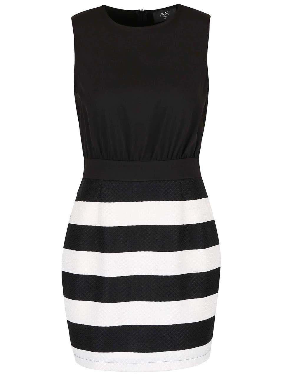Bílo-černé šaty s pruhovanou sukní AX Paris ... 1d2450f02e