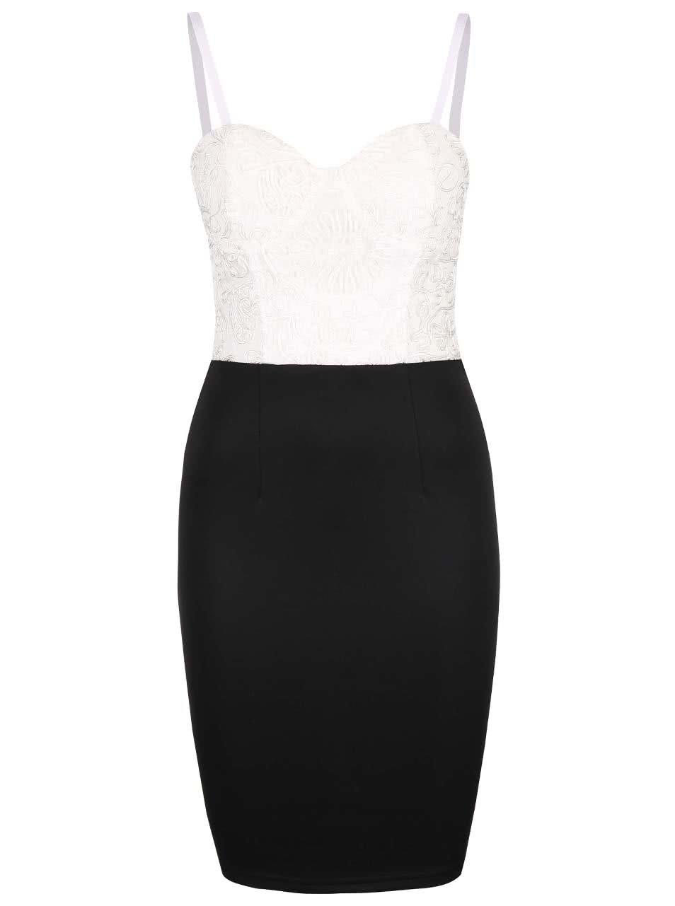 Krémovo-čierne šaty na úzke ramienka AX Paris ... b1d9880fe9d
