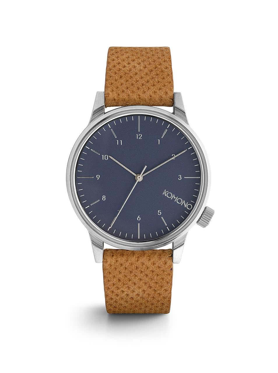 Unisex hodinky s hnědým koženým páskem Komono Winston